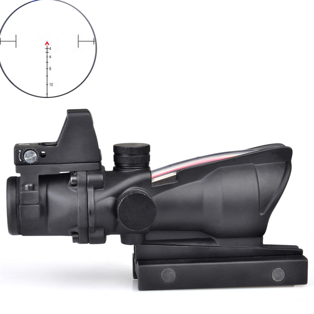 ACOG 4X32 Optic Scope Riflescope CAHEVRON Reticle Fiber Red Illuminated Optic Sight With RMR Mini Red Dot Sight 20mm Rail riflescope 4x32 compact scope fiber sight sports for 20mm rail red dot sight hunting