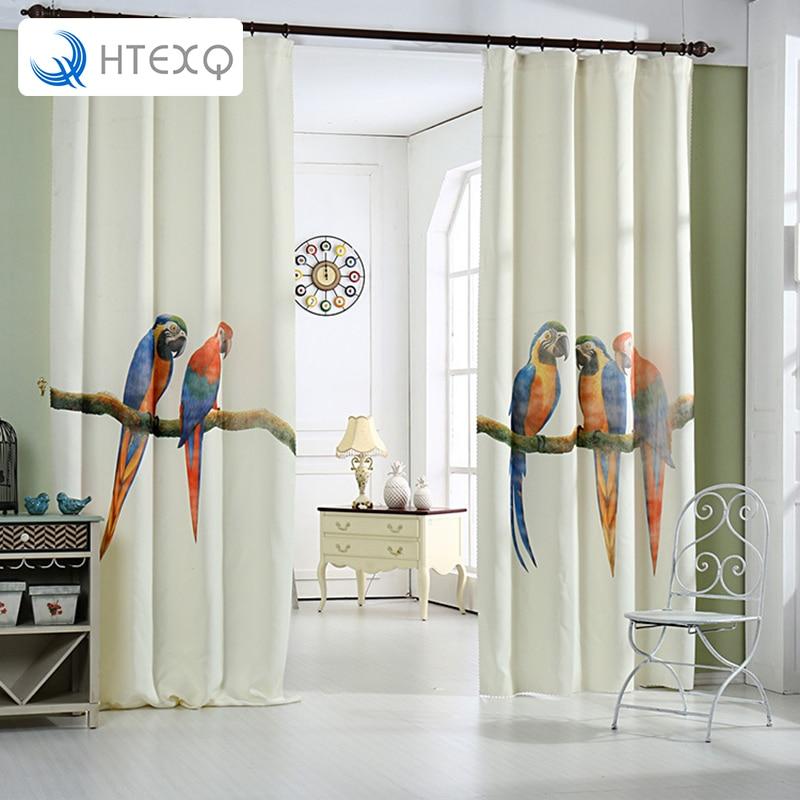 HTEXQ haute qualité imprimé Animal perroquet rideau impression numérique pour salon 3D rideaux décoration de la maison vive à la Nature
