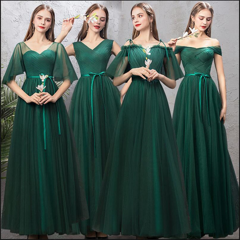 Us 448 30 Offnew Bridesmaids Dress Long Emerald Green Formal Simple Graduation Prom Gown For Girls Mismatched Vestido Dama De Honra Longo In