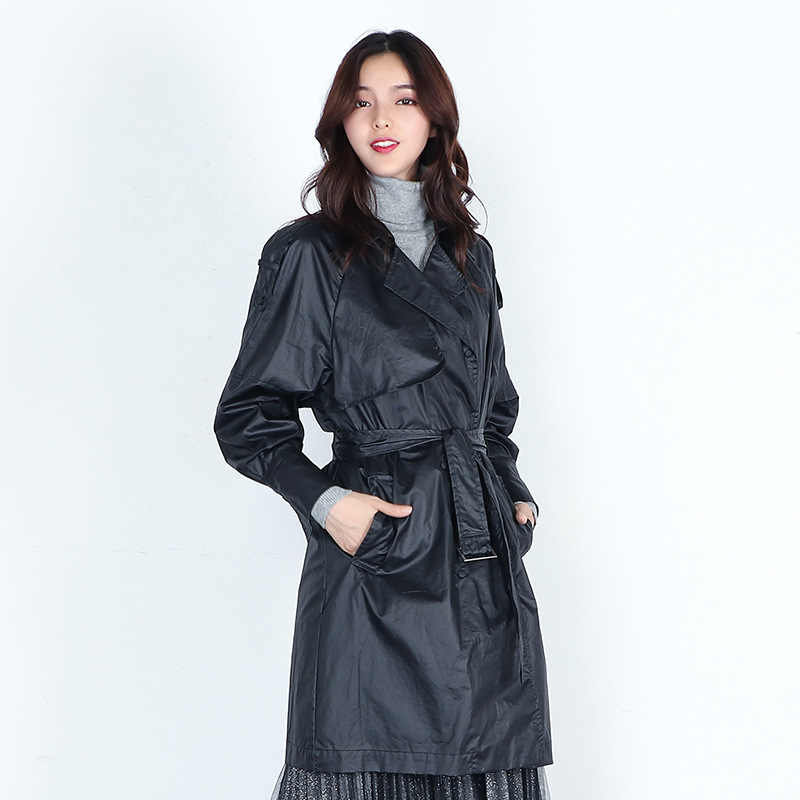 Fashion Big Turn-down Collar Faux Leather   Trench   Coat Women Spring Elegant Long Coats 2019 New Arrival Womens Belt Windbreaker