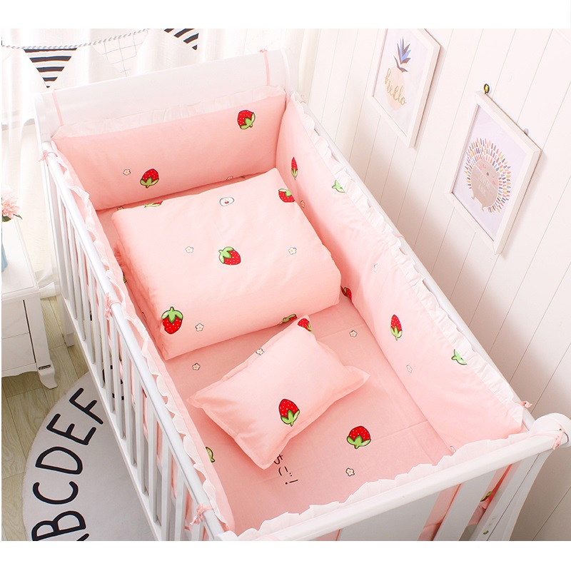 5 Pcs/set Baby Bedding Set For Boys Girls Cotton Baby Bed Set Cot Linens Kit Include Crib Protector Bumpers Bed Sheet