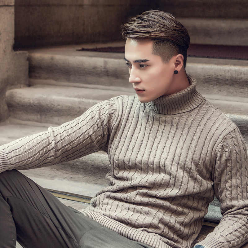 2020 Fall Winter Thick Warm Cashmere Sweater Men Turtleneck Men Brand Mens Sweaters Slim Fit Pullover Men Knitwear Double collar