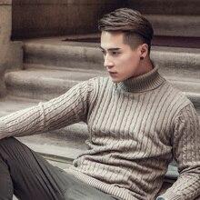 Pull en cachemire à col roulé pour hommes, de marque, Slim Fit, vêtement en tricot, Double col, automne et hiver, 2020