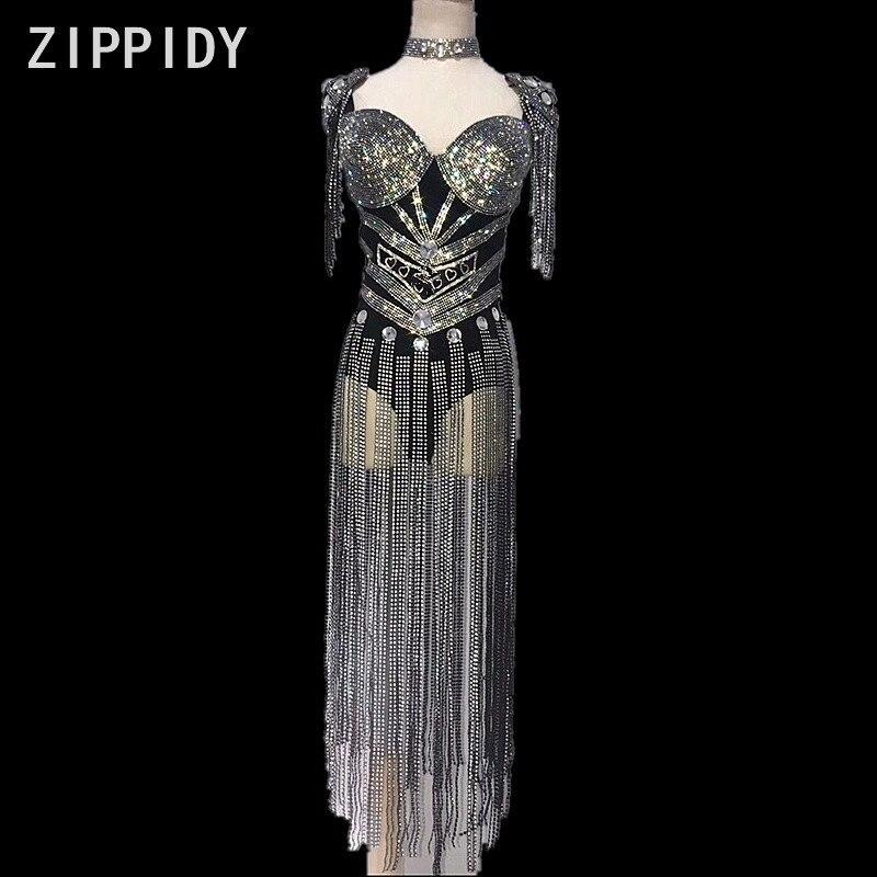 Bright Silver Fringes Rhinestones Bodysuit Stage Sexy Luxury Leotard Women Birthday Celebrate Female Singer Party Dance Costume