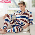 Winter Thicken Pyjamas Men Long Sleeve Warm Mens Sleepwear Classic Fashion Male Coral Fleece Button Pijama Masculino