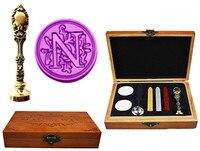 Vintage Luxury Letter N Alphabet Initial Engraved Wedding Invitation Wax Seal Sealing Stamp Brass Peacock Metal