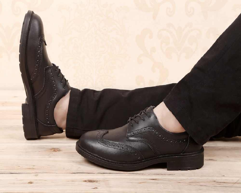 Militaire werk schoenen, Mode Veiligheid schoenen voor man, Anti-slip, ademend Reflecterende Zwart Knappe Heren Business Schoenen.