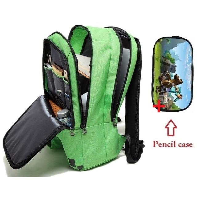 Sacos de Escola estudante mochilas Minecraft Jogos Quentes Da Menina do Menino Crianças caixa de Lápis de Lona Adolescentes campus Backpack melhor presente