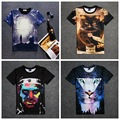 High quality street style loose short sleeve round neck 3D print personality pattern boy t shirt 14-20 years