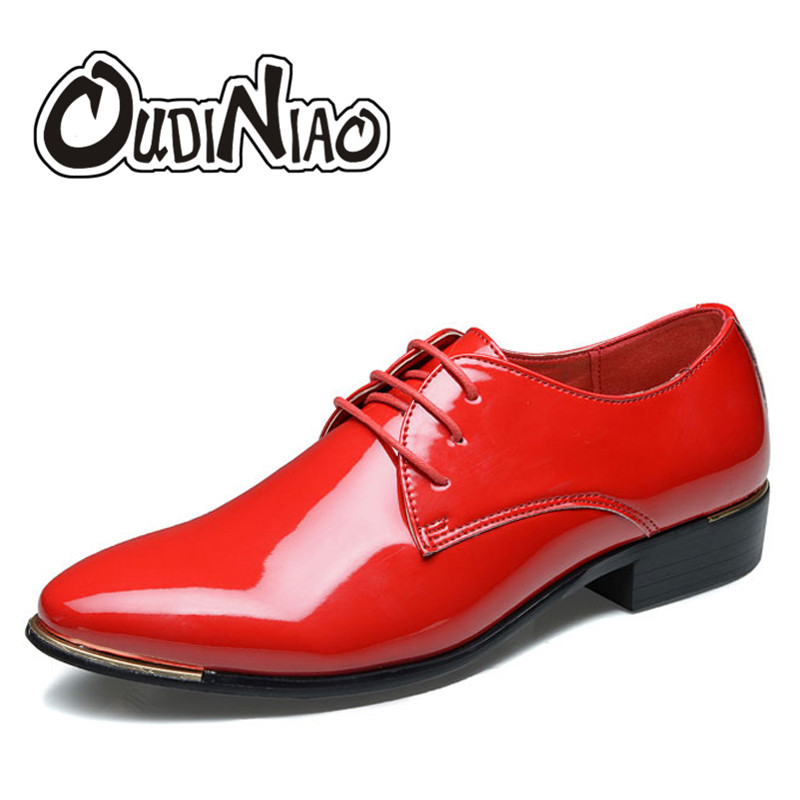 OUDINIAO Mens Shoes Large Sizes Casual Shoes British Fashion Hot Sale Male Business Metal Pointed Toe Lace Up Men's Shoes Dress fashion pointed toe lace up mens shoes western cowboy boots big yards 46 metal decoration page 5