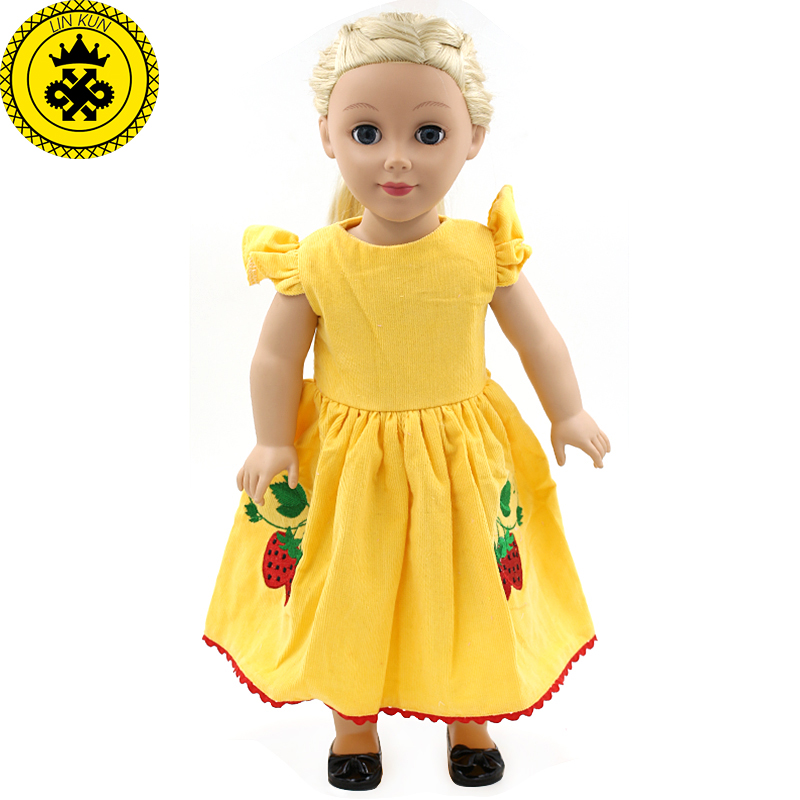 American Girl Dolls Clothing Yellow Retro Princess Dress Dolls Clothing of 18 inch Doll Dress Flower Girl Birthday Gift MG-181 handmad 18 inch american girl doll clothes princess anna dress fits 18 american girl doll mg 032