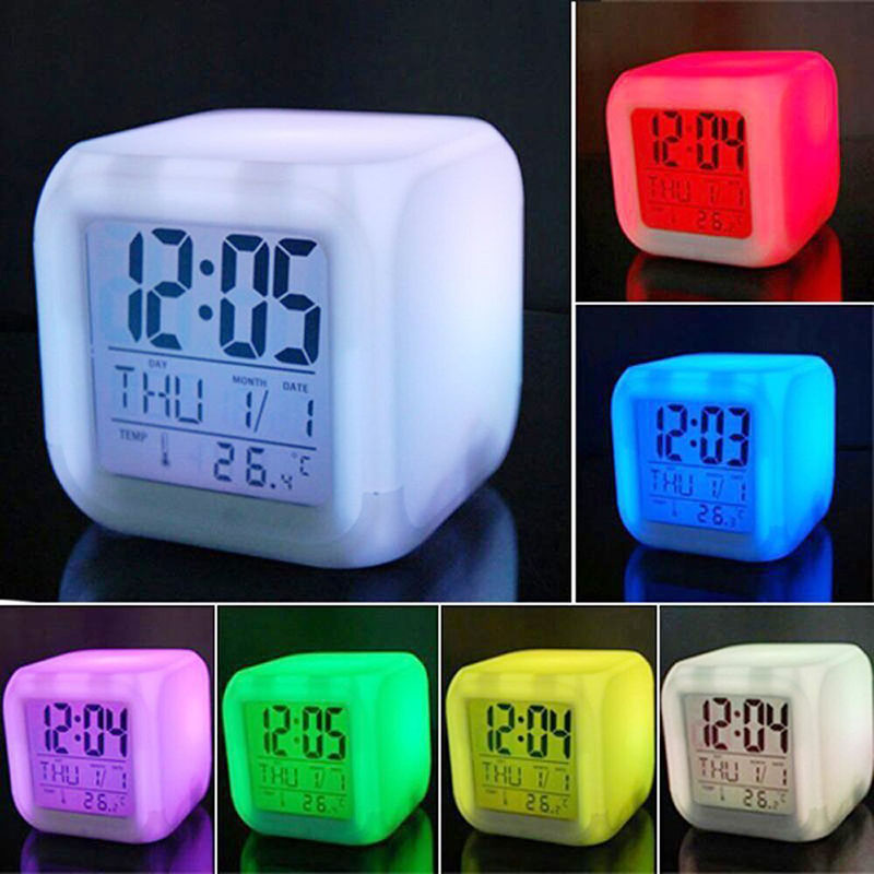 Hot Sale 1PCS 7 Colors LED Changing Digital Alarm Clock Desk Thermometer Night Glowing Cube LCD Clock Home Decor Drop Shipping