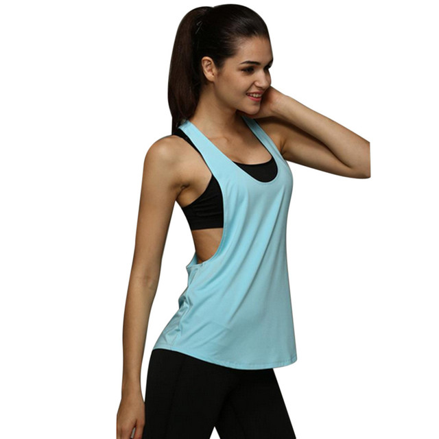 S-XXL D été Sexy Fitness Vêtements Femmes Débardeurs Lâche D entraînement  Sans ab8c06472f7
