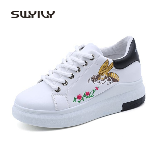 SWYIVY Bee Embroidery Sneakers Woman Platform 2018 Spring Casual Shoes Woman  Wedge Thick Bttom White Woman 950740dd7f88