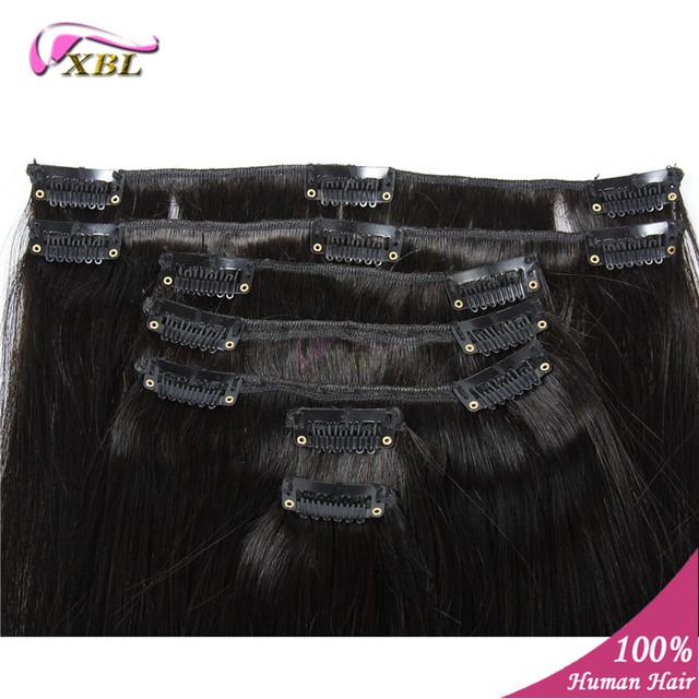 20 polegadas 100g 7 peças/set clipe reta em extensões do cabelo Virgem Remy humano Clipe no cabelo humano americano africano Extensões de cabelo