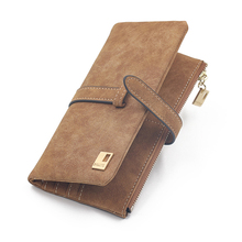 Women Wallets Female Purse Card Holder Coins Drawstring Nubuck Leather Zipper Wallet Women Long Purse Brifold Clutch Phone Bag