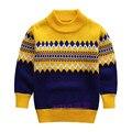 Camisola de malha para os meninos 2015 Outono Inverno Crianças Menino Camisola de Gola Alta Blusas De Natal Menino Pullover Crianças roupas 5-9 T
