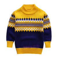 Knitted Sweater For Boys 2015 Autumn Winter Boy Sweater Children Turtleneck Christmas Sweaters Boy Pullover Kids