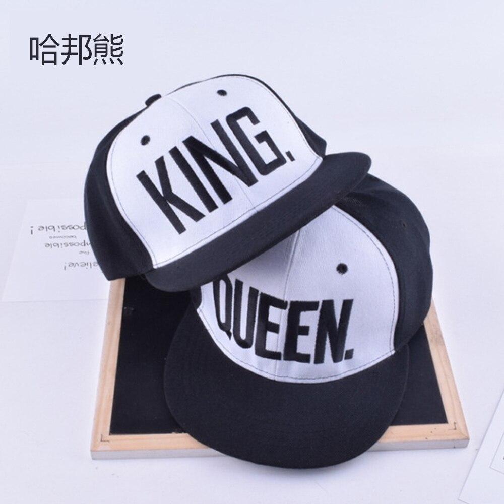 Prix pour Roi reine broderie snapback chapeau acrylique hommes femmes couple cadeaux livraison gratuite 2 pièces chaque lot