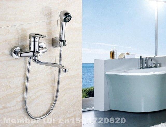Modern Brass Chrome Wall Mounted Bathroom Shower Room Bathtub ...