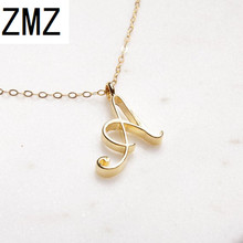 hot deal buy zmz 2018 europe/us fashion english letter pendant lovely letter a text necklace gift for mom/girlfriend party jewelry