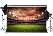 Futbol Sahası Zemin Kapalı Stadyum Bokeh Sahne Işıkları Yeşil Çim Çayır Spor Maç Okul Arka Plan