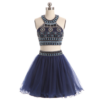 Pearl Navy Blue Tull Short Cocktail Dresses 2018 Sequins Lace Knee