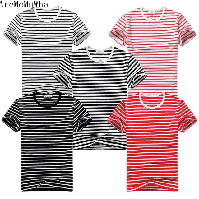 75dabcbd63a AreMoMuWha Summer sea soul shirt black and white striped t-shirt naval  style cotton round neck large size men s half sleeveQX139
