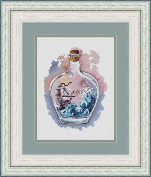 Gold Collection Counted Cross Stitch Kit A Ship Sailing In Bottle Vessel Trip On Sea Ocean