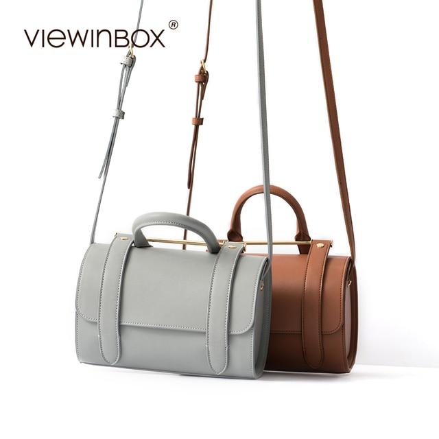 Viewinbox Brand Pillow Handbag Split Leather Fashion Boston Bag Leather  Bags Handbags Women Famous Brands Casual Shoulder Bag cb63fe81f3a8