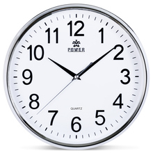 POWER Brand 12 Inch Circular Large Wall Clock Simple Horloge Murale Reloj De Pared Klok Silent Home Decor Metal Pointer Clocks