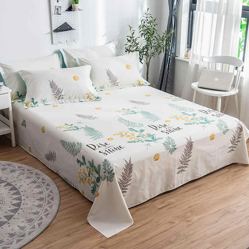 100% Cotton Bed Flat Sheets Brief Style Printing Bed Mattress Bed Cover Sheet Home Textile Bed Linens(Without pillowcase)