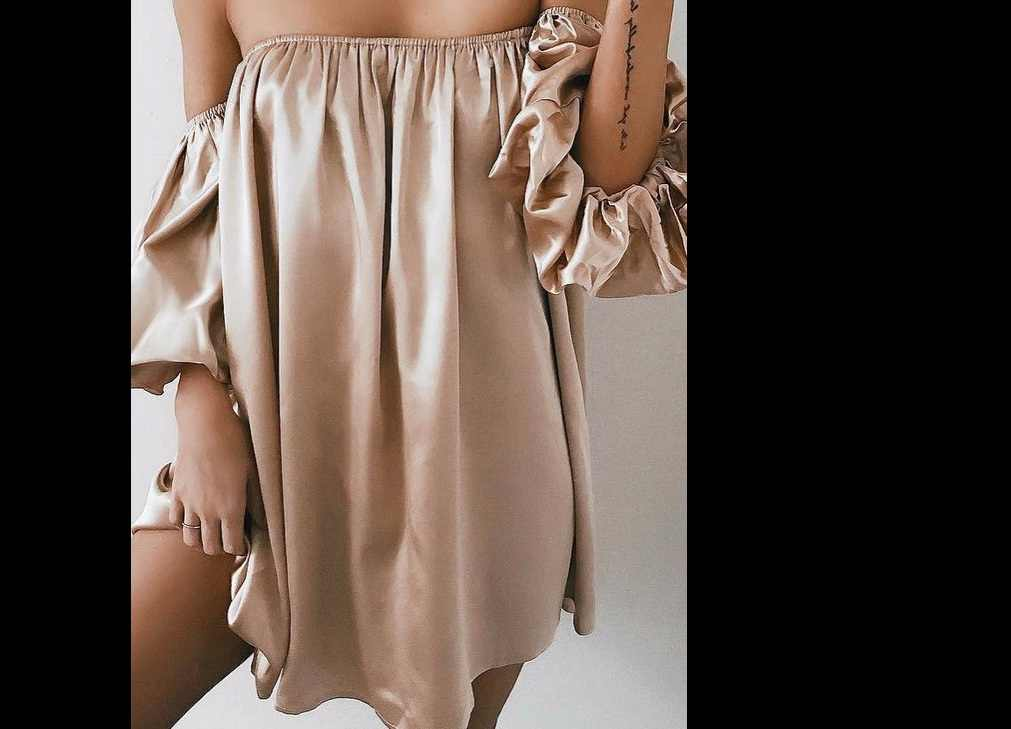 Summer Sexy Hot Solid Pink Lady Female Women Clothes Long Bell Sleeve Loose Lantern Ruffled Flounce Off Shoulder  Casual  Dress