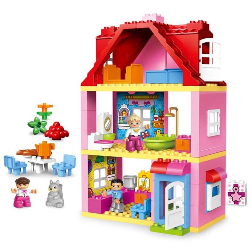 GOROCK 78 pièces Grande Taille Rose Villa Filles Gros Blocs De Construction ensemble Enfants briques à monter soi-même Blocs Jouets pour Enfants Compatible Avec Duploe