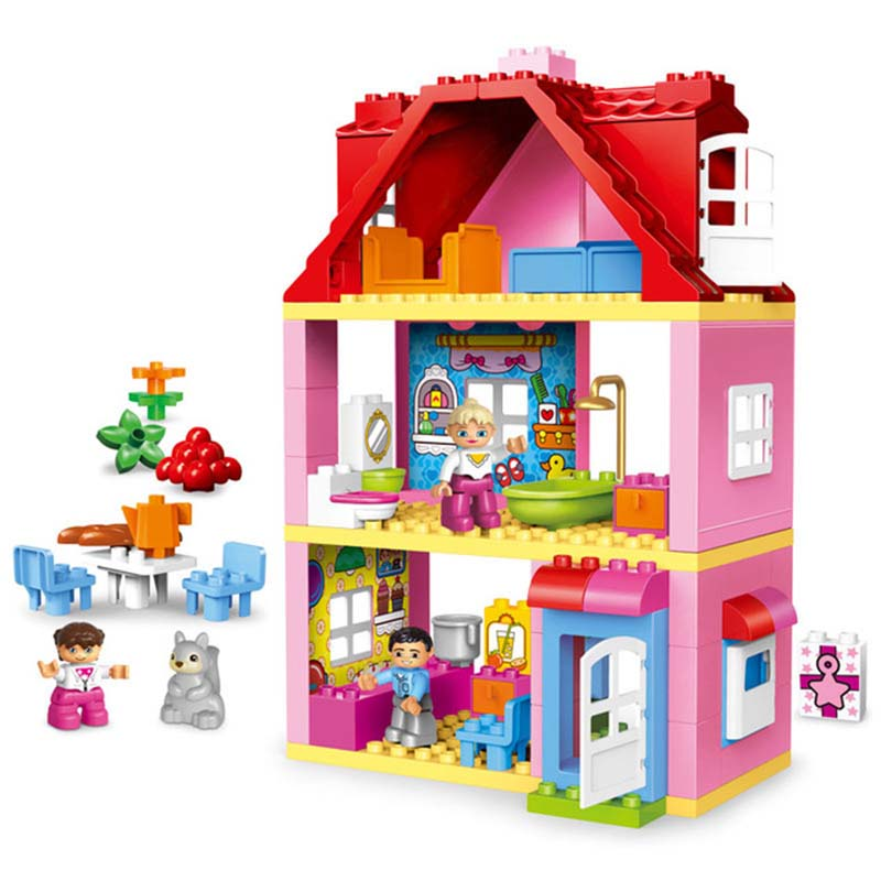 GOROCK 78PCS Large Size Pink Villa Girls Big Building Blocks set Kids DIY Bricks Blocks Toys for Children Compatible With Duploe gorock 109pcs big blocks city fire department firemen building blocks set kids diy bricks creative toys compatible with duploe