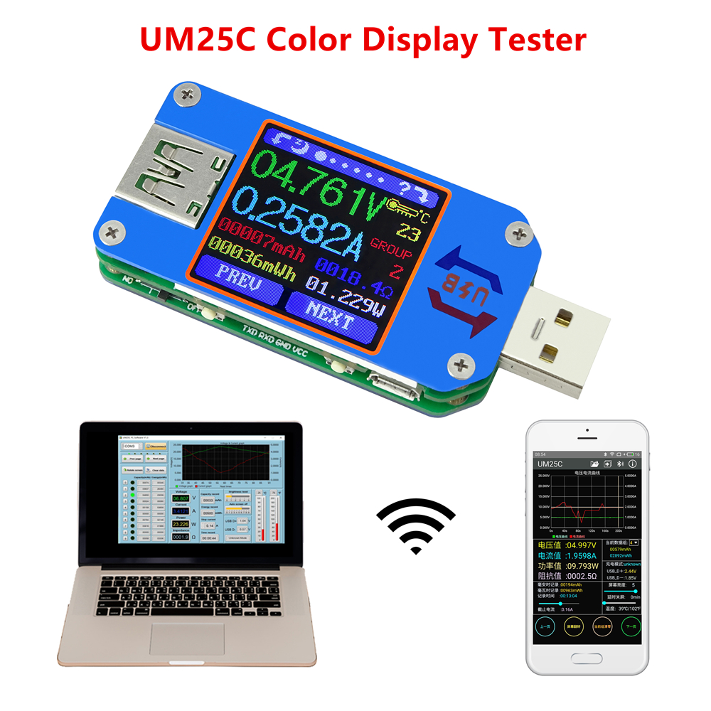 RD UM25 UM25C for APP USB 2.0 Type-C LCD Voltmeter ammeter <font><b>voltage</b></font> current meter battery charge measure cable resistance Tester image