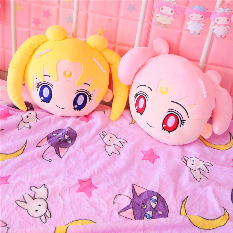 Candice guo plush toy stuffed doll cartoon Sailor Moon cushion pillow blanket yellow pink girl head office nap rest sleeping 1pc стоимость