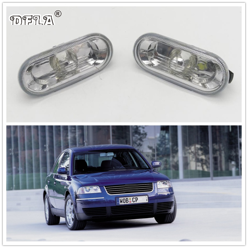 2pcs For VW Passat B5 2001 2002 2003 2004 2005 2006 Car-Styling Side Marker Turn Signal Light Lamp Repeater jeazea glove box light storage compartment lamp 1j0947301 1j0 947 301 for vw jetta golf bora octavia 2000 2001 2002 2003 2004