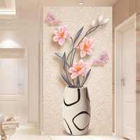 Papel pintado 3D moderno florero Simple murales De fotos sala De estar Entrada De Hotel decoración De la pared De fondo Papel De pared