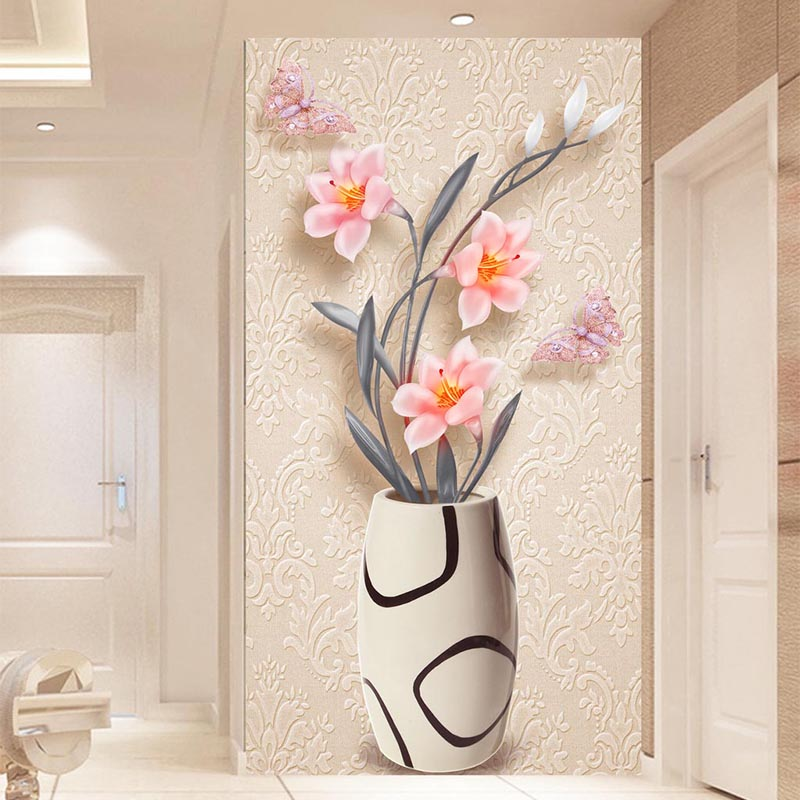 3D Wallpaper Modern Fashion Simple Flower Vase Photo Wall Murals Living Room Hotel Entrance Backdrop Wall Decor Papel De Parede