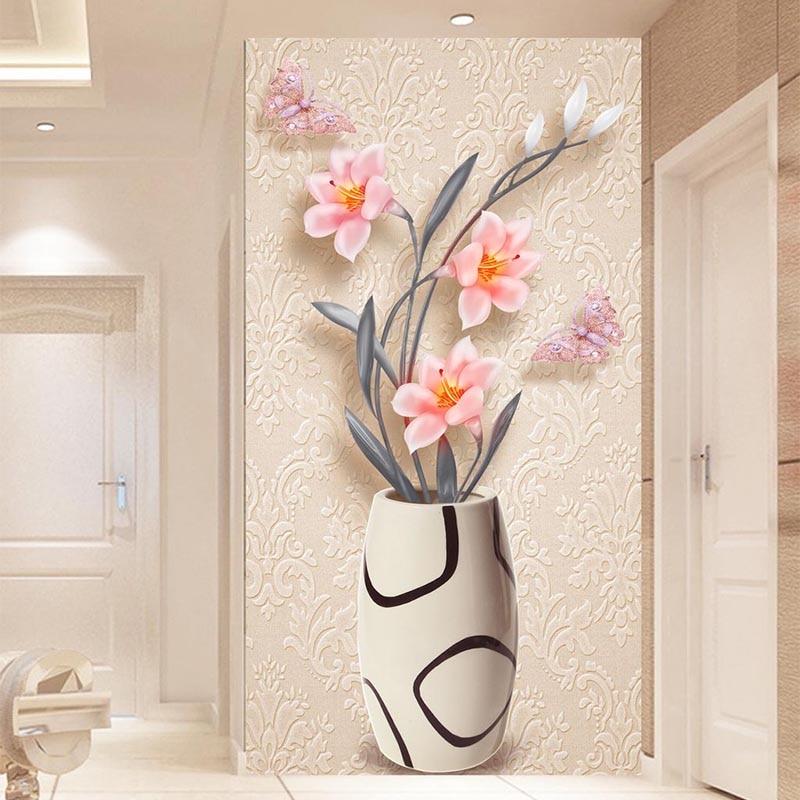 3D Wallpaper Modern Fashion Simple Flower Vase Photo Wall Murals Living Room Hotel Entrance Backdrop Wall Decor Papel De Parede