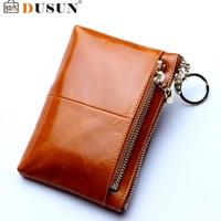 DUSUN Short Wallet Women Mini Genuine Leather Wallets Fashion Solid Black Coin Purse Black Vintage Bags Ladies Cluth Feminina