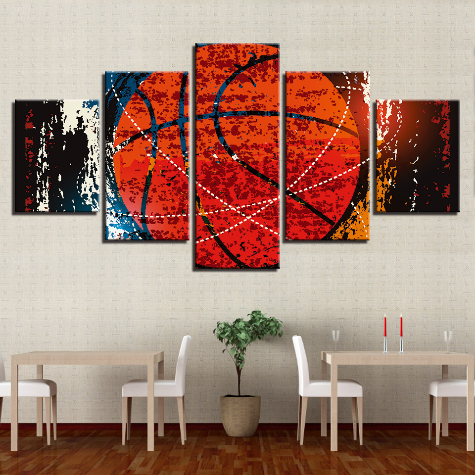 Basketball Sports Canvas Wall Art For Boys Bedroom Decor: Canvas Paintings 5 Piece Modern Picture Wall Art Picture