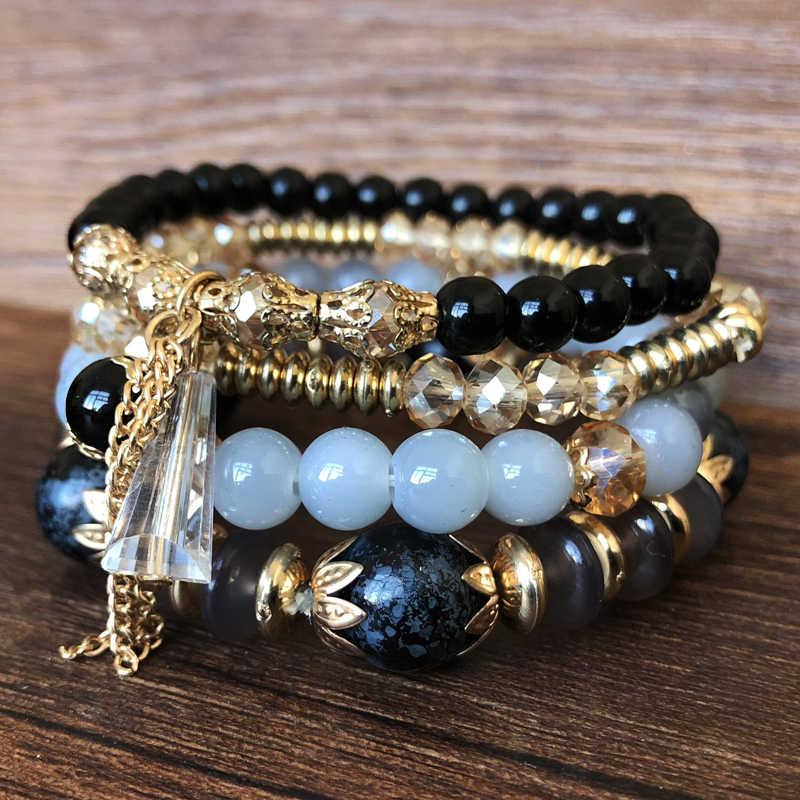 Yumfeel Brand New biżuteria bransoletka z koralików Handmade wielowarstwowe żywica akrylowa szkło kryształowe bransoletka z paciorkami kobiety prezenty