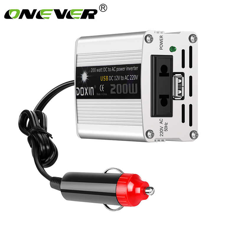 Onever 200W Watt DC 12V to AC 220V / USB 5V Portable Car Power Inverter Charger Converter Adapter DC 12 to AC 220 Modified sine