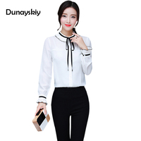 New Blouses Woman Shirts Solid White Office Lady Chiffon Shirt Women Work Wear Long Sleeve Ruffled