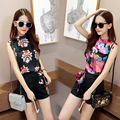 2 -Piece Suits  Floral Sleeveless T-shirt + Shorts Women Summer Clothing Sets