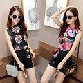 2-Ternos Floral Sem Mangas T-shirt + Shorts Conjuntos de Roupas de Verão Das Mulheres