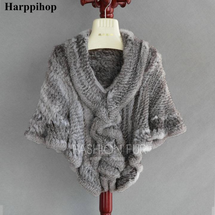 7 цветов код с натуральным кроличьим мехом вязаная накидка рябить подол с мехом кролика накидка Для женщин Подлинная Трикотажные меховая ша