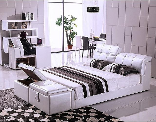 Otomano del almacenaje contemporáneo muebles de dormitorio moderno cama de cuero genuino hechos en China